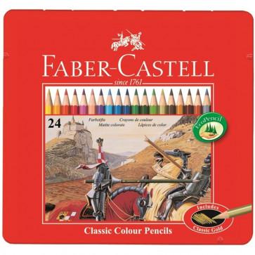 Creioane colorate, cutie metalica, 24 culori/set, FABER CASTELL
