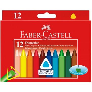 Creioane colorate, cerate, triunghiulare, 12 culori/set, FABER-CASTELL