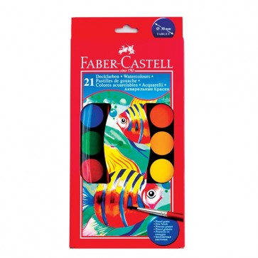 Acuarele + pensula, 21 culori/set, 30mm, FABER CASTELL