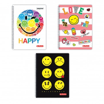 Caiet cu spira, A4, 70 file, dictando, HERLITZ Smiley World