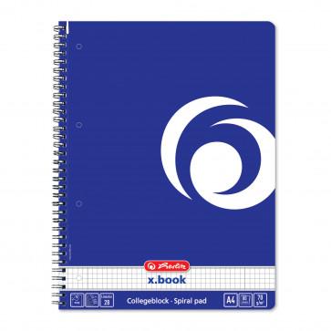 Caiet cu spira, A4, 80 file, matematica, HERLITZ Albastru intens