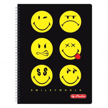 Caiet cu spira, A4, 70 file, matematica, HERLITZ Smiley World Negru