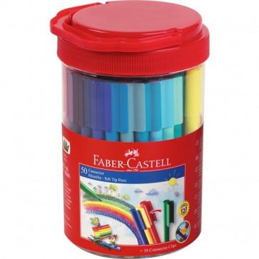 Carioci, 50 culori/borcan, FABER CASTELL Connector