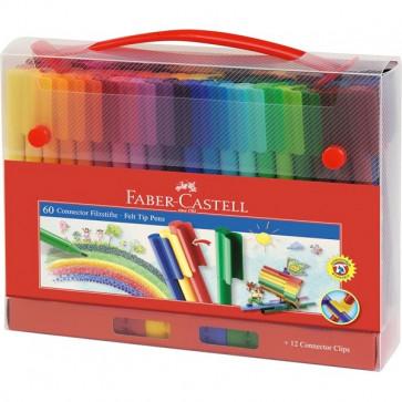 Carioci + cutie cadou, 60 culori/set, FABER CASTELL Connector