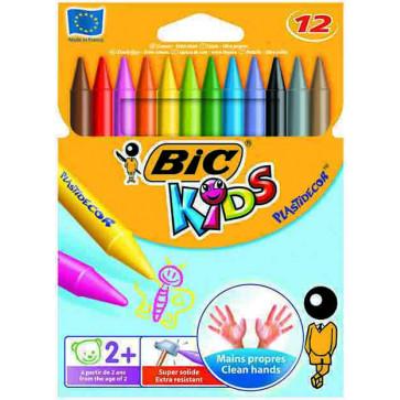 Creioane colorate - cerate, 12 culori/set, BIC PLASTIDECOR