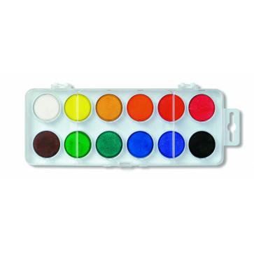 Acuarele, 12 culori/set, pastila 30mm, baza alba, KOH-I-NOOR