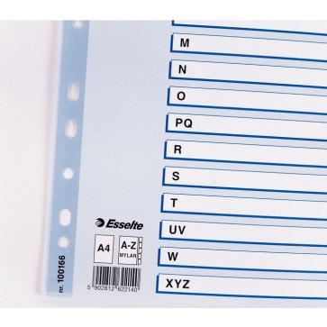 Separatoare din plastic, index A-Z, A4, ESSELTE Mylar