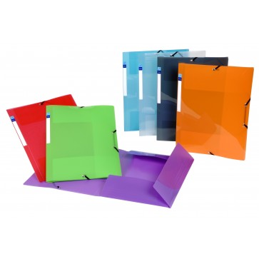 Mapa din plastic, diverse culori, eticheta, cu elastic, VIQUEL