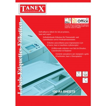 Etichete autoadezive albe pentru CD, diam ext. 116, diam. int. 41mm, 100 coli/top, TANEX