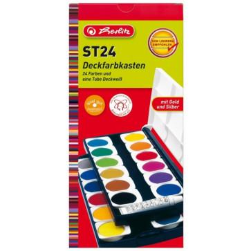 Acuarele, 24 culori + alb de zinc, HERLITZ