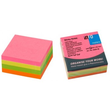 Notes autoadeziv cub, 50 x 50mm, 240 file/set, diferite culori intense, INFO NOTES