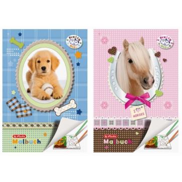 Carte de colorat, A4, 28 file, HERLITZ Pretty Pets caine/cal