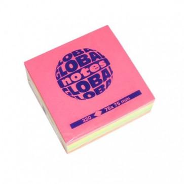 Notes autoadeziv, 75 x 75mm, 320 file/set, diferite culori intense, GLOBAL NOTES