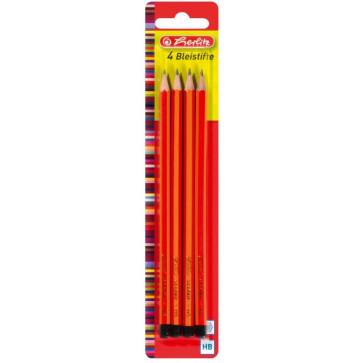Creion cu mina grafit, HB, 4 buc/set, HERLITZ