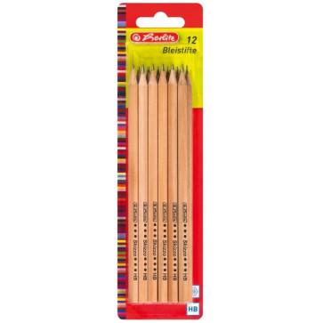 Creion cu mina grafit, HB, natur, 12 buc./set, HERLITZ