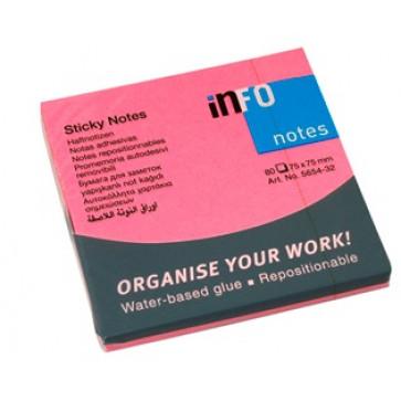 Notes autoadeziv, 75 x 75mm, 80 file/set, roz intens, INFO NOTES