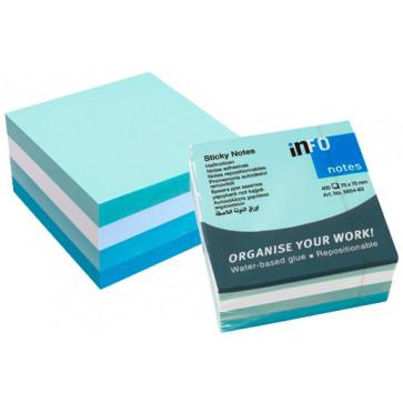 Notes autoadeziv cub, 75 x 75mm, 400 file/set, alb/albastru pastel, INFO NOTES Iceland