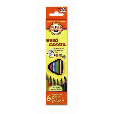 Creioane colorate, triunghiulare, 6 culori/set, KOH-I-NOOR Triocolor