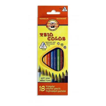 Creioane colorate, triunghiulare, 18 culori/set, KOH-I-NOOR Triocolor