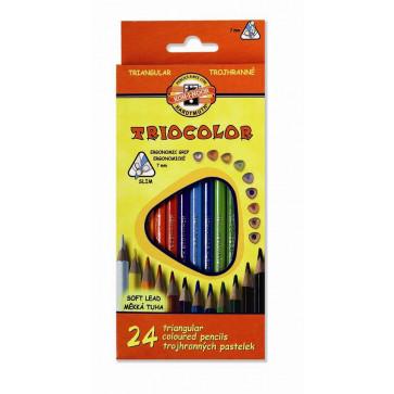 Creioane colorate, triunghiulare, 24 culori/set, KOH-I-NOOR Triocolor