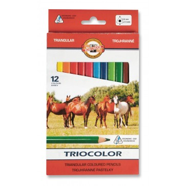 Creioane colorate, triunghiulare, 12 culori/set, KOH-I-NOOR Triocolor Jumbo