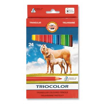 Creioane colorate, triunghiulare, 24 culori/set, KOH-I-NOOR Triocolor Jumbo