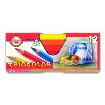 Creioane colorate, triunghiulare, 12 culori/set, KOH-I-NOOR Triocolor