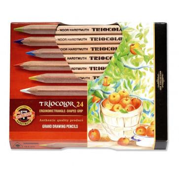 Creioane colorate, triunghiulare, pentru artisti, 24 culori/set, KOH-I-NOOR Triocolor