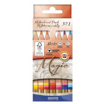 Creioane multicolor triunghiulare, 12 bucati+blender+guma+ascutitoare, KOH-I-NOOR Jumbo Trio Magic