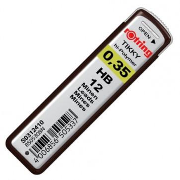 Mine pentru creion 0.35mm, HB, 12 bucati/etui, ROTRING Tikky