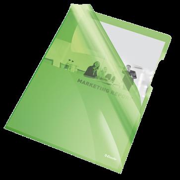 Mapa de protectie, A4, cristal, 150 mic, culoare verde 25 buc./set, ESSELTE