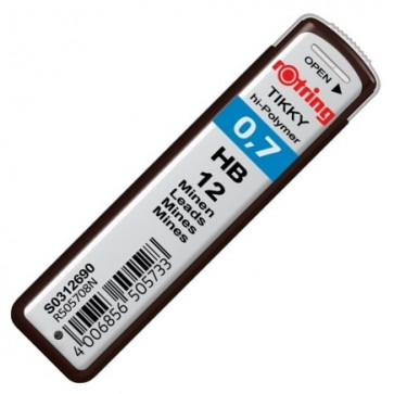 Mine pentru creion 0.7mm, HB, 12 bucati/etui, ROTRING Tikky