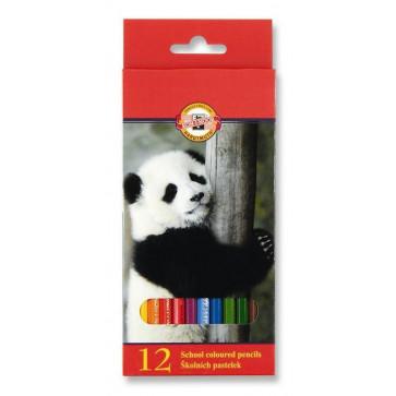 Creioane colorate, 12 culori/set, KOH-I-NOOR Zoo