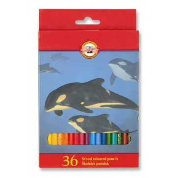 Creioane colorate, 36 culori/set, KOH-I-NOOR Zoo