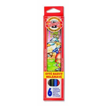 Creioane colorate, 6 culori/set, KOH-I-NOOR Monstri Spatiali