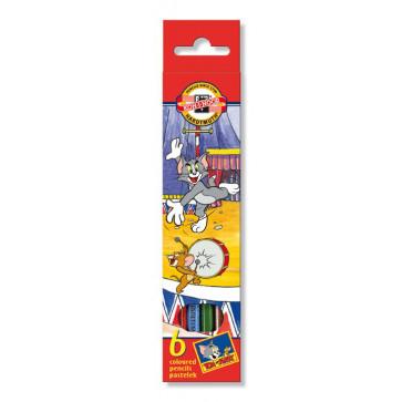 Creioane colorate, 6 culori/set, KOH-I-NOOR Tom & Jerry