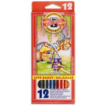 Creioane colorate, 12 culori/set, KOH-I-NOOR Monstri Spatiali
