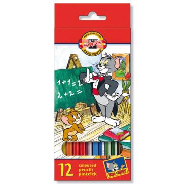 Creioane colorate, 12 culori/set, KOH-I-NOOR Tom & Jerry