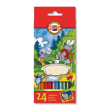 Creioane colorate, 24 culori/set, KOH-I-NOOR Tom & Jerry