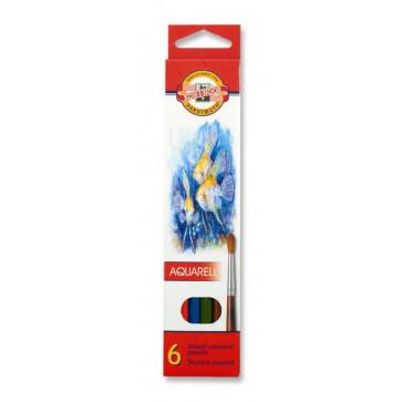 Creioane colorate, solubile in apa, 6 culori/set, KOH-I-NOOR Aquarell
