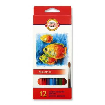 Creioane colorate, solubile in apa, 12 culori/set, KOH-I-NOOR Aquarell