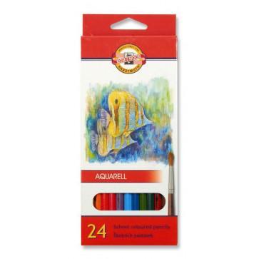 Creioane colorate, solubile in apa, 24 culori/set, KOH-I-NOOR Aquarell