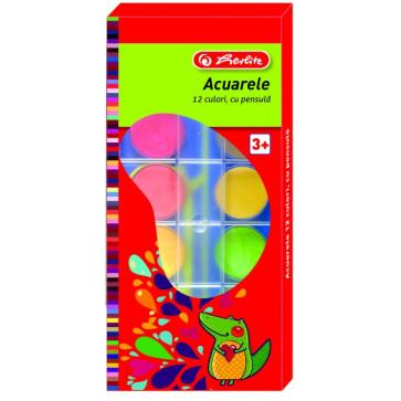 Acuarele, 12 culori + pensula, HERLITZ