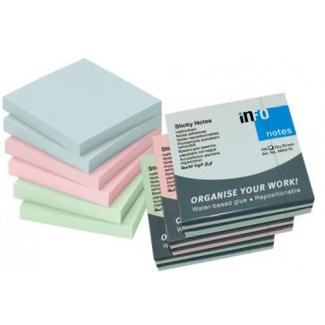 Notesuri autoadezive (6 seturi), 75 x 75mm, 100 file/set, diferite culori pastel, INFO NOTES