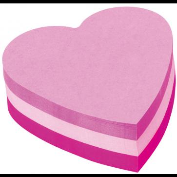 Notes autoadeziv cub in forma de inima, 225 file/set, roz intens, POST-IT 2007H