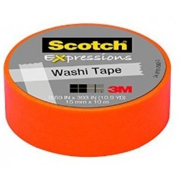 Banda adeziva decorativa, oranj, 15mm x 10m, SCOTCH Expressions Washi Tape
