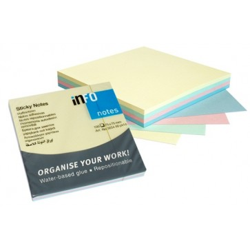 Notes autoadeziv cub, 75 x 75mm, 100 file/set, diferite culori pastel, INFO NOTES Rainbow