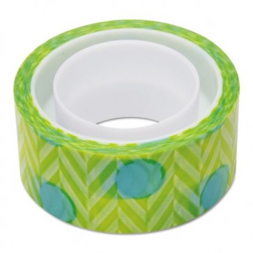 Banda adeziva decorativa, cercuri albastre pe fond verde, SCOTCH Expressions