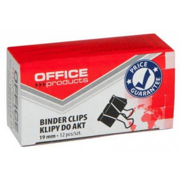 Clips, 19mm, 12buc/cutie, negru, Office Products