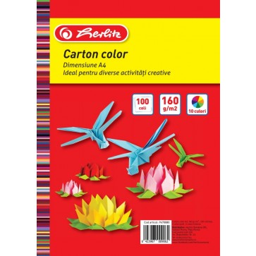 Carton colorat, A4, 160 g/mp, diverse culori, 100 coli/top, HERLITZ